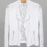 Women's Pieced Lace Jacket in White by Daytrip.
