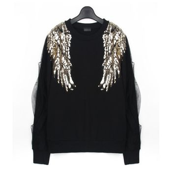 Europe 2017 Autumn New Design Women Stylish Angel Wings Bead Sequined Long Sleeve Splice Gauze Sweatshirt Pullovers Black Tops