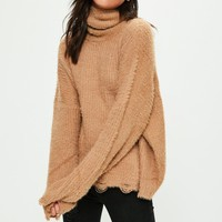 Missguided - Camel Soft Oversized Roll Neck Pullover
