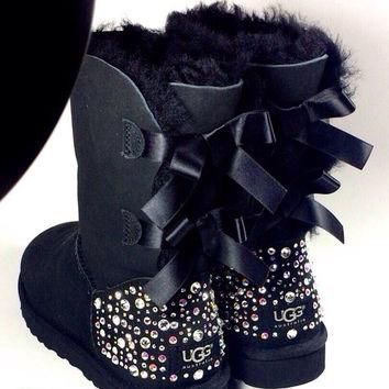 EXCLUSIVE - Swarovski Crystal Embellished Bailey Bow Uggs in Sparkly Night (TM) - Blac