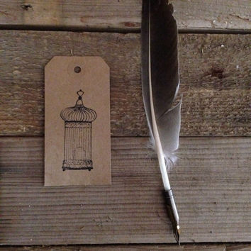 Antique birdcage stamped gift tag