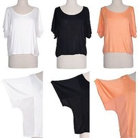 Women Jersey Boat Neck Side Mesh Panel Dolman Batwing Sleeve Drape Top Tee Shirt