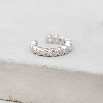 No Piercing Bezel Ear Cuff - Silver
