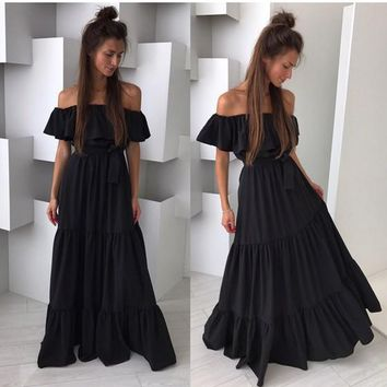 Black Patchwork Ruffle Draped Boat Neck Short Sleeve Maxi Dress