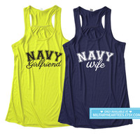 Proud Navy Racerback Tank Top, Navy wife tank top, Navy girlfriend tank top, Navy mom shirt, Navy sister shirt, Navy wife shirt