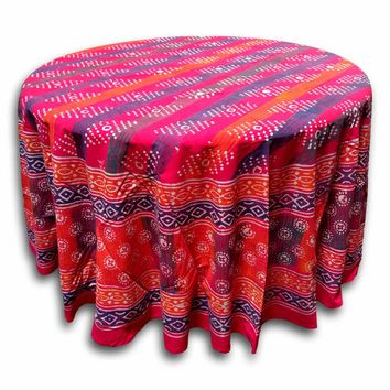 Handmade 100% Cotton Hand Block Print Dabu 90 inches Round Tablecloth Geometric Red Orange