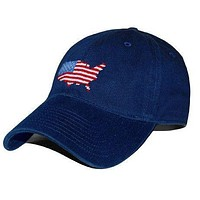 USA Map Needlepoint Hat in Navy by Smathers & Branson
