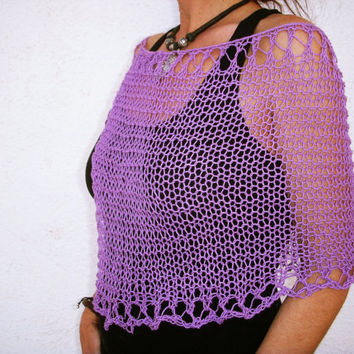 Hand knitted  summer. Shawl closed. Orchid lilac. Lace capelet, soft cotton, summer cover up, lilac trend