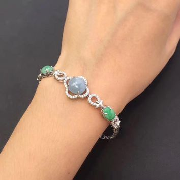 vintage style fine jewelry real 925 sterling silver 100% Natural perfact green jade bracelet bangle for women fine bracelets