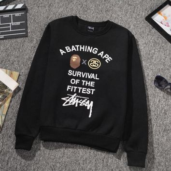 Stussy A Bathing Ape Unisex Pullovers Sweatershirts
