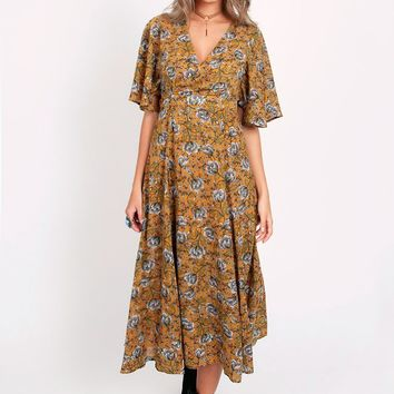 Flower In The Sun Printed Maxi Dress | Threadsence