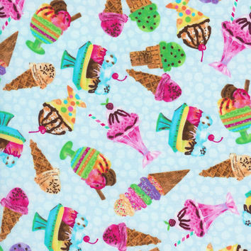 Timeless Treasures Fun Food With Ice Cream Cones And Sundea's All Rainbow Colors Fabric........ 1 Yard