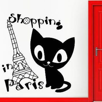 Wall Sticker Vinyl Decal Shopping Paris France Fashion Girl Woman Style Unique Gift (ig2206)