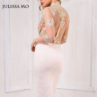 Julissa Mo Gold Sequin Mesh Body Sexy V Neck Sleeve See Through Embroidery