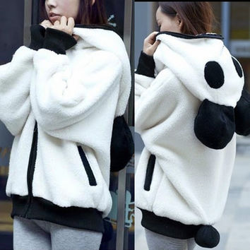 Lovely Panda Detachable Tail Zip Up Womens Hoodie Outwear Kigurumi Sweats Pocket = 1930028420