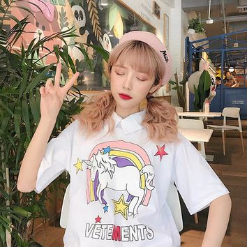 Bestseller vadim bts summer ins polo shirt both positive and negative wear Tops loose kawaii Unicorn print Harajuku women Tshirt