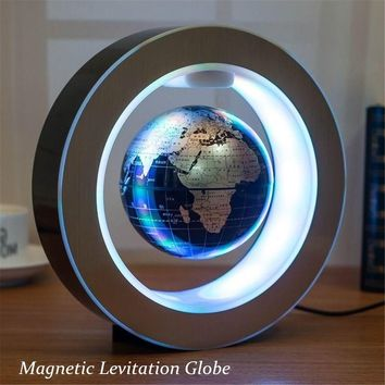 4 Inch Illuminated Magnetic Levitation Floating Globe Earth Map Automatic Rotate Electric LED Light World Globe Atlas Map Home O