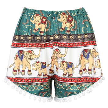 Multicolor Elephant Print Pom Pom Shorts