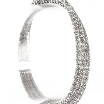 Clear Twisted Three Layer Rhinestone Cuff Bracelet
