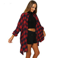 Women Red Plaid Cotton Casual Long Sleeve Blouse Shirt