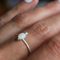 Opal ring, Sterling silver ring, stacking ring, midi ring, stackable ring