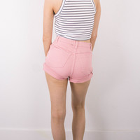 Vintage (Size XS) Pink Studded Cuffed High Waisted Denim Shorts