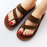 Leopard Palm Slippers Summer Sandals Open  Cloth Shoes Women's Sandals Slippers Beach Flat Flip Flops