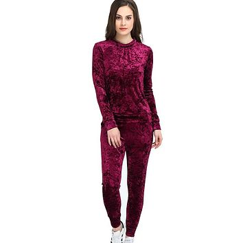 3XL 2017 Women Two Piece Set Female Winter Tracksuit Velvet Hoodies Top + Pants Ladies Long Sleeve Outfit Femme Sporting Suits