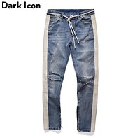 Side Stripe Patchwork Ripped Jeans Men Plus String New Fashion Denim Pants 2 Colors