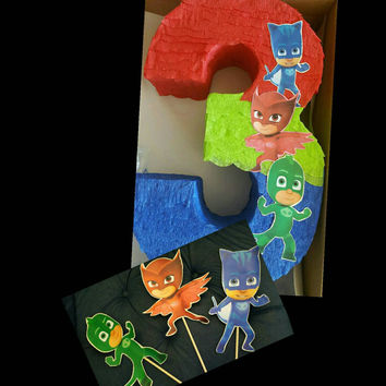 Party pack 1: Number pinata inspired by PJ mask + 3 cake toppers