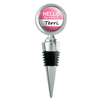 Terri Hello My Name Is Wine Bottle Stopper