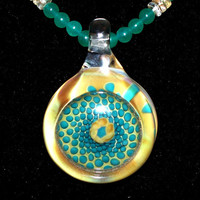 Large Lampwork Glass Pendant, Stone Beads, Teal, Yellow, Handmade, Jewelry, Necklace, Citrine, Sterling Silver, Agate