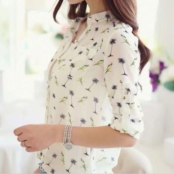 Women Birds Printing Dot Chiffon Shirt Collar Blouses