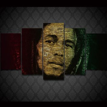 5Piece Canvas ArtAbstract Painting Wall Art Picture Prints On Canvas Bob Marley Canvas Picture Wall Art Pictures Hanging