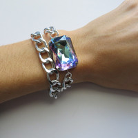 Swarovski Vitrail Light Crystal and Silver Wrap Chain Bracelet