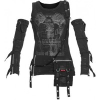 Gothic shirt for women, detachable sleeves, print and pouch detail