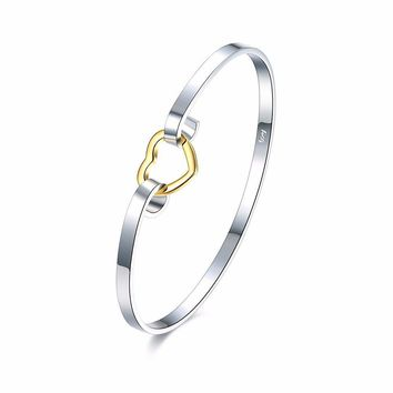 Sweet Simple Bracelet Silver Plated Hollow Heart Bracelet for Women Gift