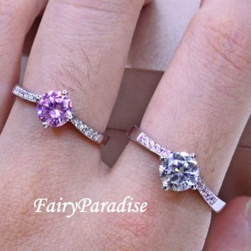 Two Tone 1 ct Round Cut Solitaire Man Made Diamond Engagement / Promise Rings, in Solid 925 Silver Platinum Plated ( FairyParadise ) R318
