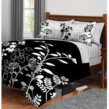 Walmart: Botanica Complete Bed in a Bag Bedding Set, Black and White Floral Print