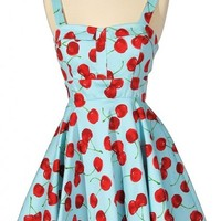 Cheerful Cherry Blue Printed Fit and Flare Dress