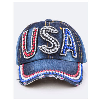 """""""American Pride"""" Red White and Blue USA Denim Hat"""