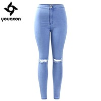 2042 Youaxon Women`s High Waist Stretch Ripped Knees Distressed Skinny Denim Jean Pants Jeans Woman