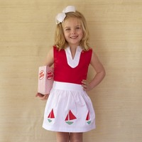 Girl's Party Skirt in White Canvas by Kayce Hughes