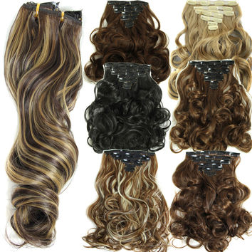 160g 7pcs/set clips in hair extension long Curly Fake hair pieces 16 clip in false hair extensions Multicolor Cheap hairpiece