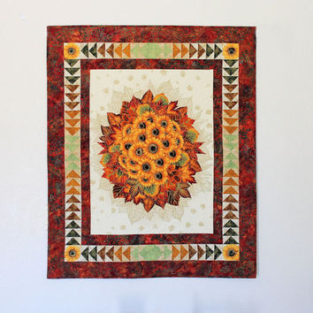 Autumn Wall Hanging Quilted Panel - Sunflowers Quilted Wall Hanging with Flying Geese Border, Fall Wall Quilt