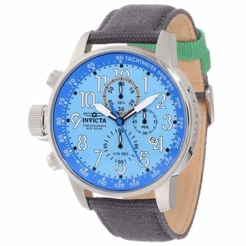 Invicta 12077 Men's I-Force Lefty Blue Dial Grey Fabric & Leather Strap Chronograph Watch