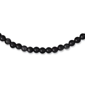 Men's Stainless Steel Polished Lava Stone 20 inch Necklace
