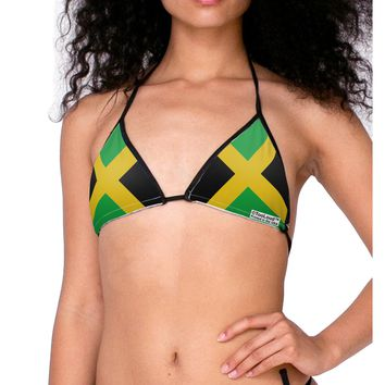 Jamaican Flag Women's Swimsuit Bikini Top All Over Print