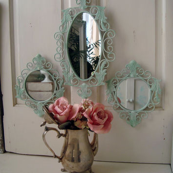 Green Mirror Set, Set of 3 Ornate Mirrors, Light Green Oval Mirror, Round Mirrors, Beach Cottage, Fleur De Lis, Shabby Chic, Up Cycled