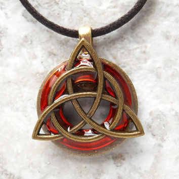 triquetra necklace: orange - mens jewelry - trinity knot - celtic jewelry - fathers day - unique jewelry - boyfriend gift - mens necklace